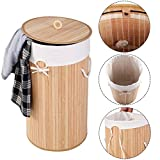 Wäschekorb Wäschekörbe Wäschebox Wäschetruhe Wäschesammler Bambus mit Leinen KleidersackWäschetone Wäschewagen