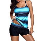 JMETRIC Damen Loose Comfort Hohe Taille Konservativ Badeanzug Gradient Halfter Zweiteiliger Badebekleidung (Blau,XL)