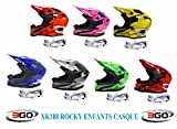 Casque Moto Enfant 3GO XK188 Casque Rocky Enfants Motocross Quad MX ATV Sport ECE ACU certifié Casque avec Moto X1 Blanc Lunettes - Rose - L