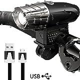 DAMIGRAM LED Fahrradlicht mit USB Wiederaufladbare, Wasserdichte LED Fahrradlampe Set Frontlichter 4 Licht-Modi Fahrrad Licht für Radfahren,Wandern