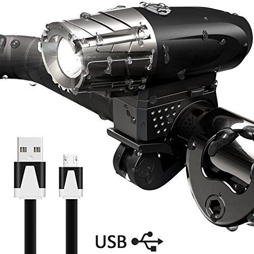 DAMIGRAM Super Luminoso Luce Anteriore Bici, Luci Bicicletta LED 4 modalità con USB Ricaricabile Resistente all' Acqua Luce Bici per Ottimale Ciclismo Sicurezz