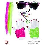 Lively Moments 80er Jahre Brille, Strähnen / Strähnchen, Handschuhe und Ohrring / Neonfarben / Kostüm Zubehör