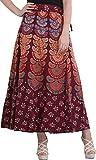 Exotic India Block-Printed Sanganeri Wrap-Around Skirt from Pilkhuwa - Color BurgundyGarment Size Free Size