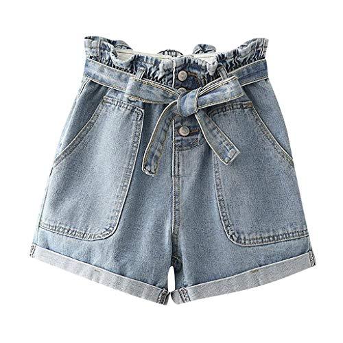 Tianwlio pantaloni donna jeans larghi strappati pantaloncini vita alta denim shorts ragazza push up bermuda mare pantalone cerimonia ragazze pantaloncino con elastico in vita con tasche