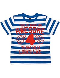 Edward Sinclair Awesome 4 Year Old Looks Like Children's Striped T-Shirt 4th Birthday T-Shirt