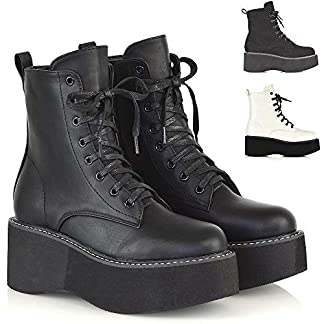 ESSEX GLAM Womens Lace Up Ankle Boots Chunky Platform Ladies Retro Goth Punk Wedge Booties 9