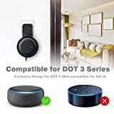 Wall Mount Holder Stand for Alexa Dot 3rd Generation, Enhanced Dot Speaker Sound Quality, Built-in Cable Management without Screws, Suitable for Kitchen, Bedroom, Bathroom and Garage (Black)