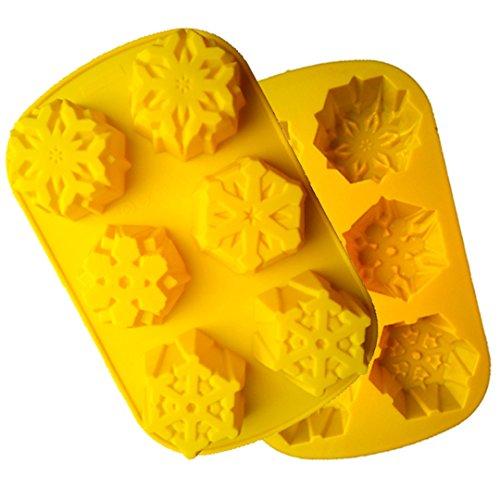 (FantasyDay® 2 Stück Premium Silikon Backform/Muffinform für Muffins, Cupcakes, Kuchen und Gelee - Weihnachten Schneeflocken backform für eindrucksvolle Kreationen, hochwertige Silikon-Kuchenform)