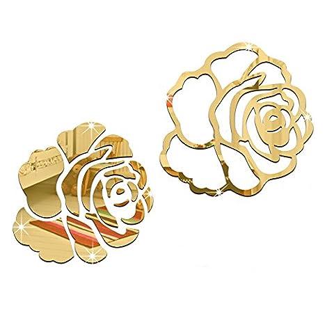 Alxcio 3D Rose Wandaufkleber Kinderzimmer Wandtattoo Wandsticker Geschenk Wandsticker Aufkleber Dekoration Fee Kinderzimmer Schlafzimmer Baby Kids A Typ - Goldene