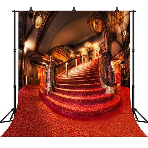 Vrupi 3x 3m Merry Christmas indoor Red Carpet Staircase Seamless vinile fondale fotografico foto sfondo studio Prop PGT003