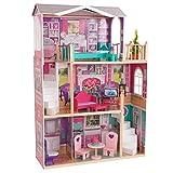 KidKraft 65830 Doll Manor Puppenhaus aus Holz mit Zubehör für 45 cm große Puppen mit 12 Accessoires und 3 Spielebenen