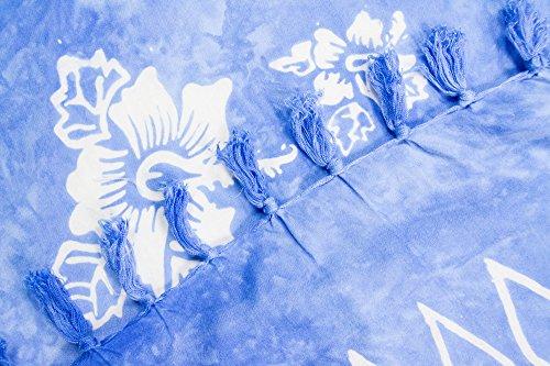 ManuMar Donna sarong | Pareo telo mare | leggero per telo fasciatoio con frange nappe Blau Hibiscus