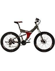 """KS Cycling Fully G-Titan - Bicicleta de montaña de doble suspensión, color gris / rojo, ruedas 26"""", cuadro 50 cm"""