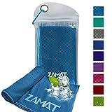 Asciugamano di raffreddamento ZAMAT per sollievo istantaneo di raffreddamento, lunga durata, asciugamano in microfibra con tecnologia evaporativa a 3 strati, asciugamano sportivo per piscina di yoga palestra, nuoto in campeggio, come fascia di raffreddamento sciarpa fascia da polso (azzurro, M: 40*12inch)