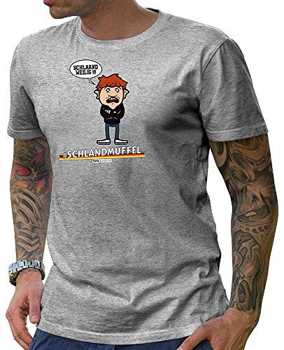 HARIZ  Pixbros Collection Herren T-Shirt Grau Designs Wählbar Deutschland Trikot WM EM Fahne Inkl Urkunde Bang Sticks Pixbros09: Schlandmuffel XS