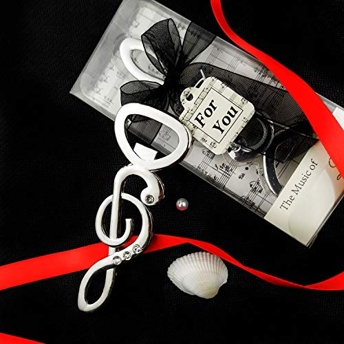 Yuokwer 12 Stück Schlüssel-Flaschenöffner Hochzeit Gastgeschenke mit Geschenk-Box, Vintage Schlüsselform Bierflaschenöffner für Party-Gastgeschenke, Skelett-Schlüssel, Party-Dekoration Music Note