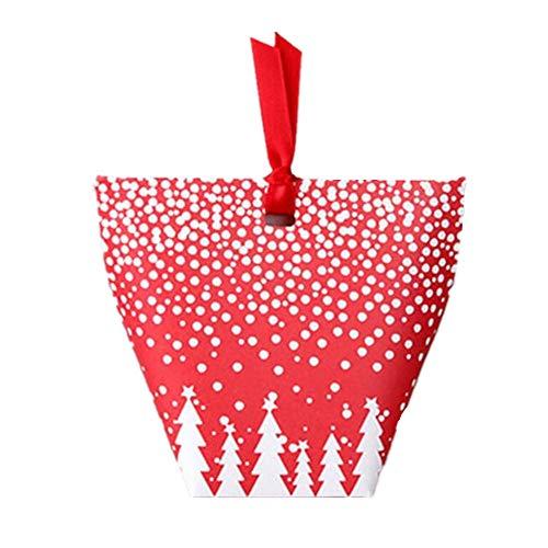 GAOQQ 50 Stück Kleines Geschenk Dekoration Box/Rote Schneeflocke Weihnachtsbaum Süßigkeiten Verpackung Geschenkbox Tragbare