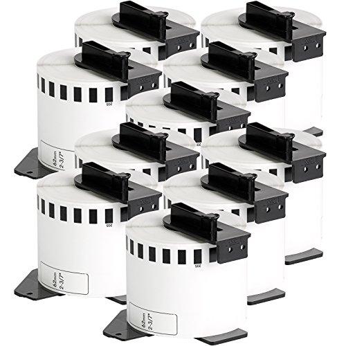 10x compatible Etiquetas continuas DK22205 blanco