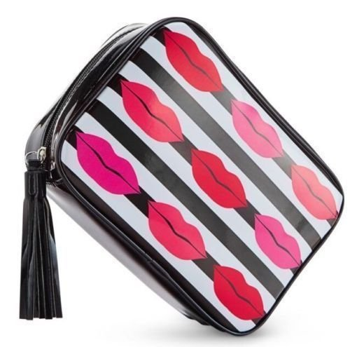 macys-lips-kisses-make-up-bag-case-black-and-white-stripes-with-red-pink-lips-by-macys