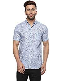 Mufti Button Down Printed Sky Half Sleeves Shirt