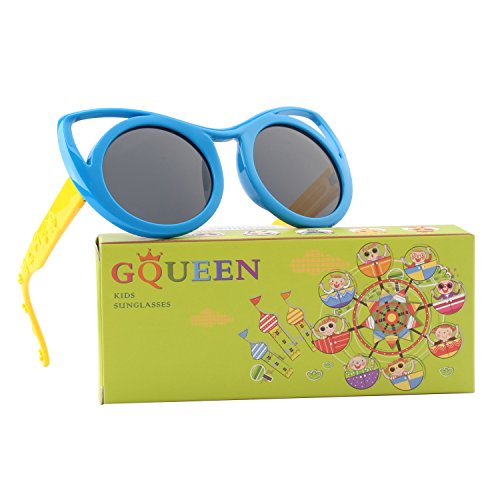GQUEEN Rubber Flexible Kids Cateye Polarized Sunglasses for Boys Girls Baby and Children Age 3-10,ET22