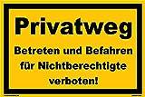 Kleberio® Warn Schild 30 x 20 cm Einfahrt - Privatweg Betreten und Befahren für Nichtberechtigte verboten! - stabile Aluminiumverbundplatte