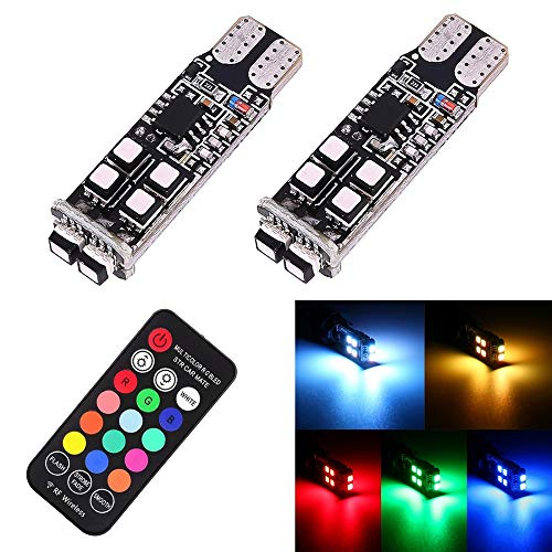 2 PCS W5W 194 T10 Multi Colors 10 SMD 3535 LED Car Clearance Light Marker Light + Remote Control, DC 12V