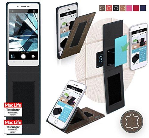 reboon Hülle für Oppo Mirror 5s Tasche Cover Case Bumper | Braun Wildleder | Testsieger