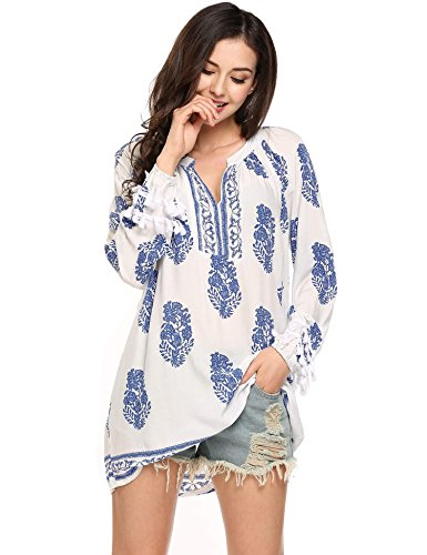 Meaneor Vestidos Túnica Camisas Tops Mujeres Moda Impresión Suelta Azul L