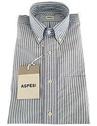 ASPESI chemise homme CE14 B032 B.D. MAIGRE oxford à rayures céleste blanc  100% coton 597f5b1ac2db