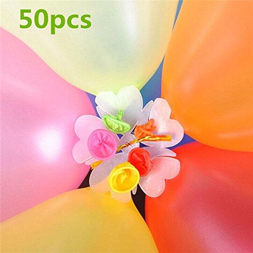 Blossom Cup, Creative Plum Blossom Form Luftballons Clip Halter Ballon Flower Clip Halterung für Hochzeit Party & Geburtstag Dekoration, Plastik, Set of 50, 6.5 cm/2.56 inch