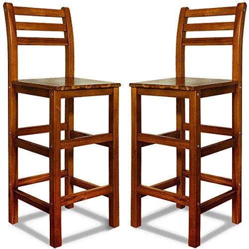 Deuba 2er Set Barhocker mit Lehne I Massives Akazienholz I Optimale Sitzhöhe 75cm I Fußablage - Barstuhl Bar Hocker Holz -