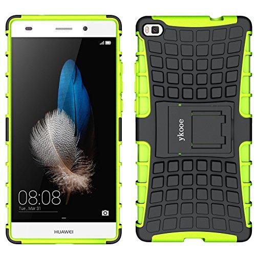 Huawei P8 Hülle, ykooe (TPU Series) Dual Layer Hybrid Handyhülle Drop Resistance Handys Schutz Case Hülle mit Ständer für Huawei P8 (5,2 Zoll) - (Grün)