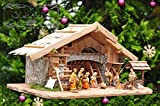 Krippenstall Weihnachtskrippe + Zubehör, K60MF-BRK-TLF2, NEU MIT BRUNNEN + BELEUCHTUNG + LAGERFEUER + TRAFO + LATERNE mit hochwertigen PREMIUM Krippenfiguren / FARBIG HANDBEMALT, 12er SET in edler Echtholz-Optik, mit 3 Königen aus dem Morgenland - saubere Gesichtszüge , feine Mimik, Zubehör für Weihnachtsstall Weihnachtkrippen Spielkrippe Krippenspiel, Licht Beleuchtung als Krippenzubehör Krippenspiele Krippenställe Kinderkrippe