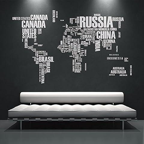Vinilo de Pared Mapa Mundo Texto con Nombres de Países - 194 x 120 cm