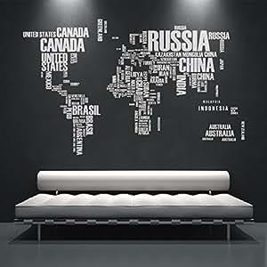 Autocollant Muraux Carte du Monde Texte avec Noms des Pays - 194 x 120 cm