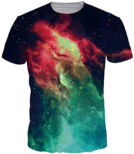 Bettydom Herren T-Shirt Kurzarmshirt Top Hemd Print Shirt Casual Basic O-Neck Short Sleeves (Gruen Feuer, L(Tag XL)) (Sleeve Feuer T-shirt Short)