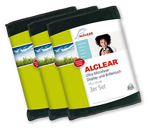 ALCLEAR 950003i Ultra-Microfaser Displaytuch für iPhone, iPad und iPod, 19x14 cm, anthrazit ,3er Set