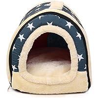 Casa para gatos perros cama mascota habitacion, 2 en 1 Casa y Sofá Antideslizante Plegable Suave Calentar Con Cojín Extraíble, Colchón de Cachemira Desmontable, by RGB.(35x30x28 S, azul)