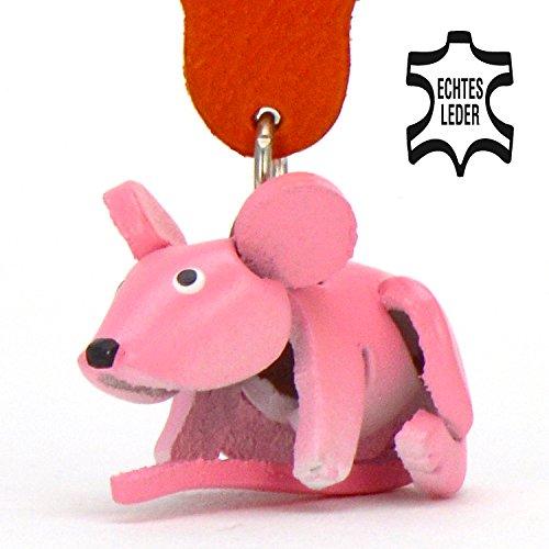 Maus Mickey - Schlüsselanhänger Figur aus Leder in der Kategorie Kuscheltier / Stofftier / Plüschtier von Monkimau in rosa - Dein bester Freund. Immer dabei! - 5x2x4cm LxBxH klein, jeweils 1 Stück