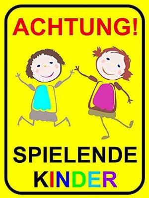 """Hinweisschild, Warnschild """"Achtung Spielende Kinder"""", iSecur®, Größe: 30x40cm, Art. hin_065, Achtung, Vorsicht, Warnung, Hinweis"""