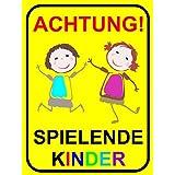 """Hinweisschild """"Achtung! Spielende Kinder"""", Größe: 20x30cm, Art. hin_065, Achtung, Vorsicht, Warnung, Hinweis auf Kinder, langsam fahren, Spielstraße"""