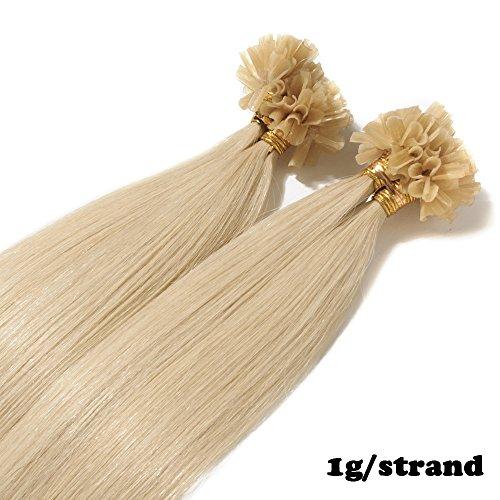 40cm extension capelli veri cheratina #60 biondo platino 1 grammo per ciocca 50g/pack u tip remy hair umani naturali lisci