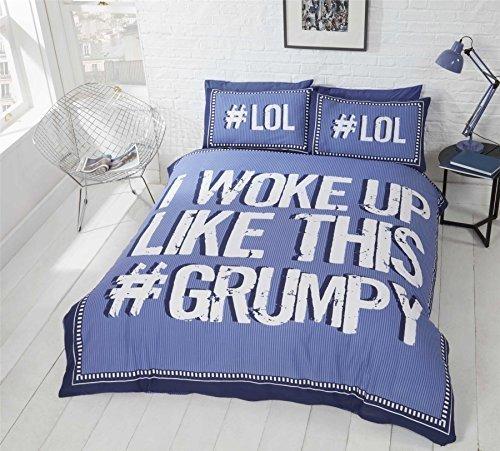 Woke Up mürrisch Nadelstreifen blau weiss Baumwollmischung Doppelbett Bettwäsche