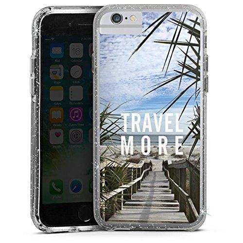 Apple iPhone 8 Bumper Hülle Bumper Case Glitzer Hülle Reise Summer Sommer Bumper Case Glitzer silber