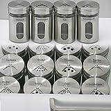 Ami Europe Set Edelstahl/Glas Gewürzstreuer mit 65x passenden Etiketten, Gewürzgläser Gewürzdosen Salzstreuer