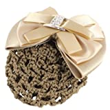 Ladies Hairnet Beige Rhinestone Inlaid Bowtie Hair Clip Snood Net