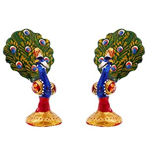Ethnic Arts New Year Gift Home Decor Enamel Work Pure Brass Dancing Peacock Pair Gift Handicraft