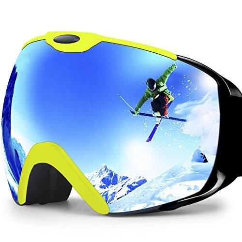 Professionale anti-nebbia anti-vento a doppio strato lente di protezione UV occhiali da Sci Snowboard Skate, Unisex chiarezza visione sci occhiali (Verde fluorescente)
