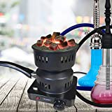 FRX Elektrischer Kohle-Anzünder 650W für Shishakohle Grillkohle Holzkohle Campingkocher Anzünder Kohle-Brenner Miniherd Heizplatte Mokkakocher (Schwarz)